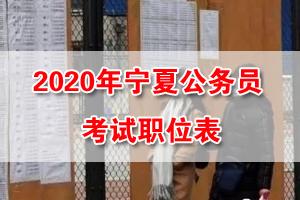2020寧夏公務員考試招錄職位表