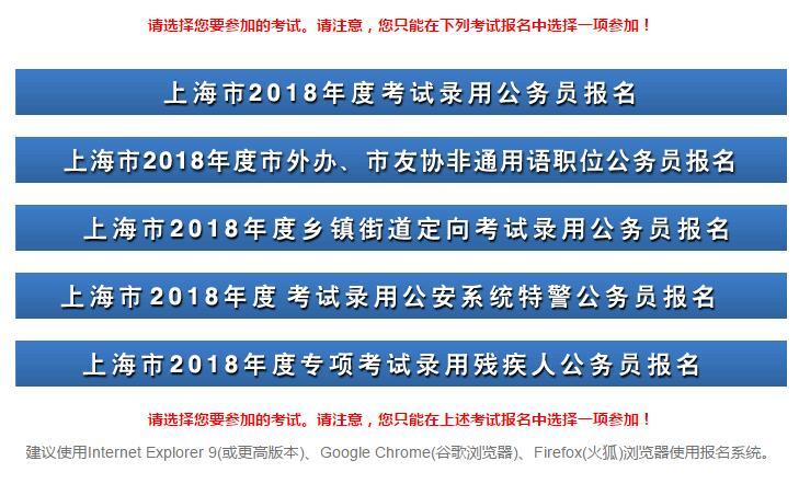 2018年上海公务员考试报名入口