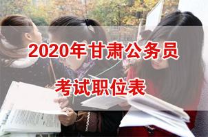 2020年甘肅公務員考試職位表